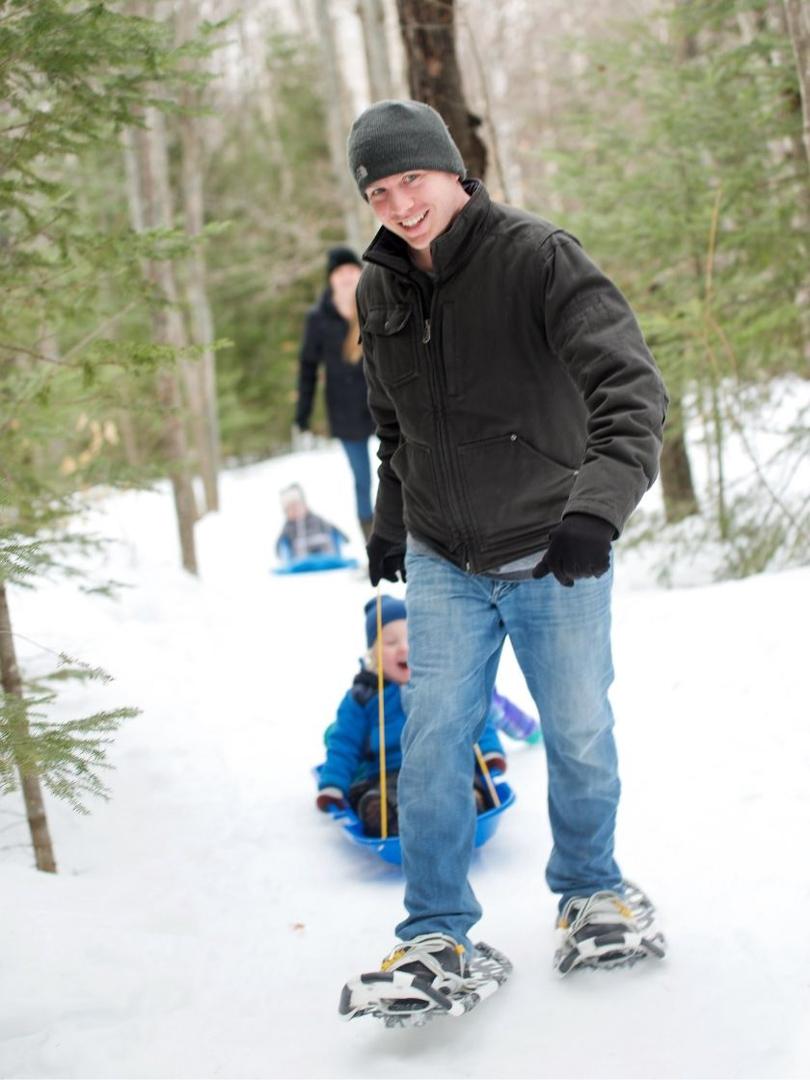 Snowshoeing at New Land Trust, Saranac, New York