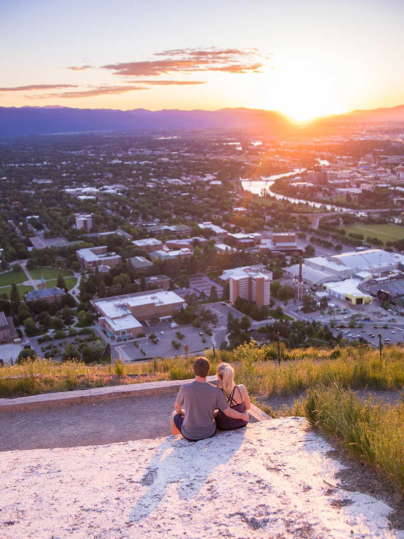 Sunset View over downtown Missoula, Montana